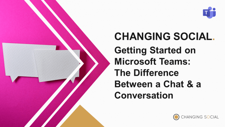 Title Slide Saying 'the difference between a conversation and chat in MicrosoftTeams'