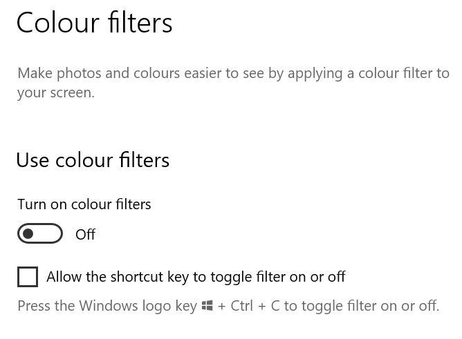 Colour filter toggle button