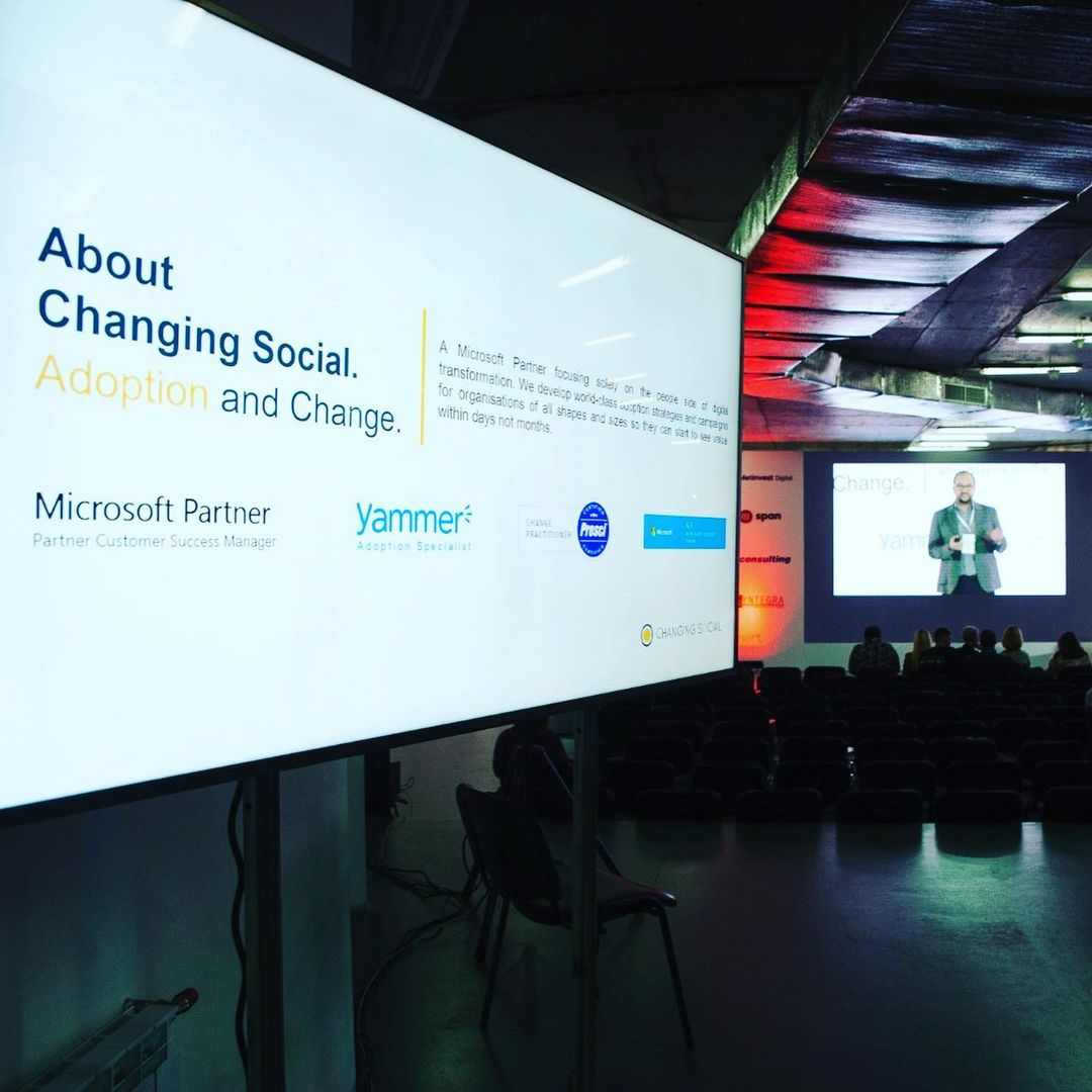 Steve Crompton talking about changing social at event