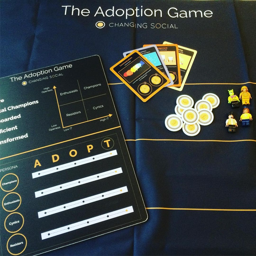 The adoption game with counters