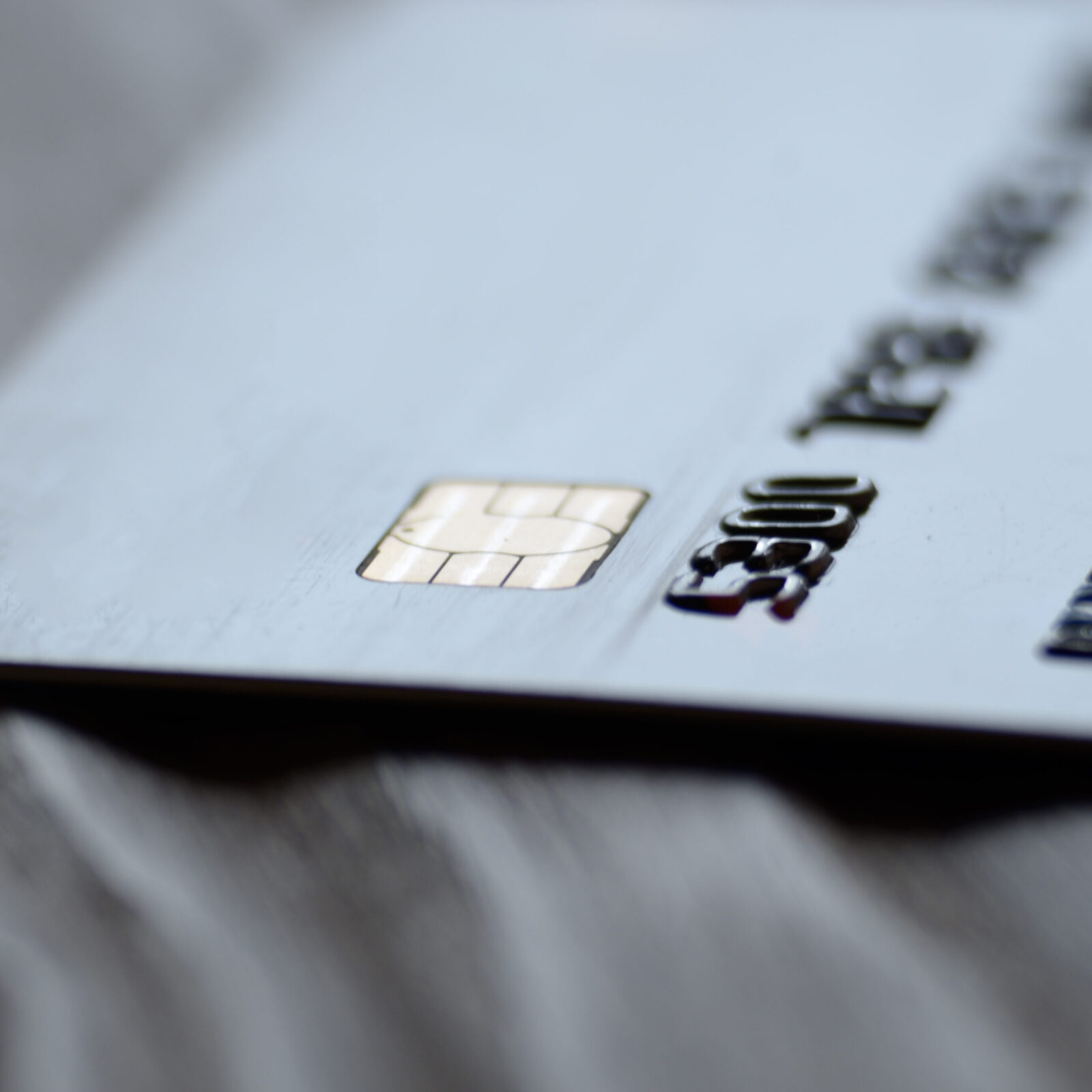 Macro photo of credit or debit card